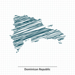 Doodle sketch of Dominican Republic map