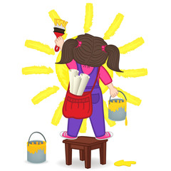 girl draws  sun standing on a chair - vector illustration, eps