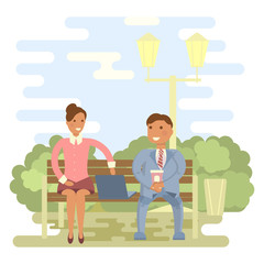 Couple outdoors in summer on a park bench. Cartoon character of men and women, people talking and chatting, office people in flat design.Vector illustration eps10