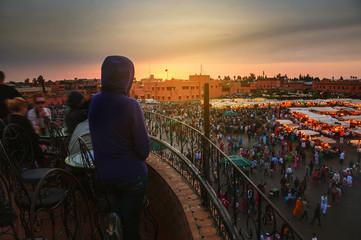 Jamaa el Fna square in Marrakesh at night