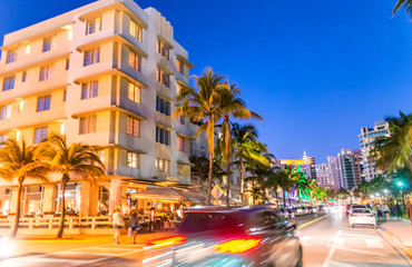 MIAMI BEACH - FEBRUARY 25, 2016: Miami Beach Ocean Drive at dusk