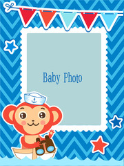 Cute Kids Vector Photo Frame. Cartoon Monkey Vector Illustration. Decorative Cartoon Template For Baby Family Or Memories. Marine Theme Photo Frame.