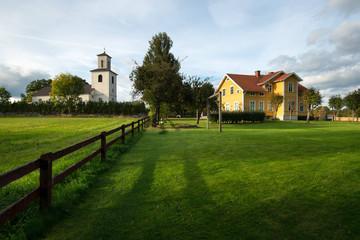 Dorf Solberga mit Kirche, Smaland, Schweden