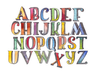 set of hand drawn watercolor letters sequence from A to Z isolated on white background. Large grainy raster illustration. 3D alphabet with imperfections, handwritten with ink and brush.