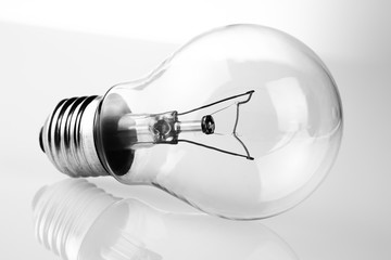 retro vintage light bulb with on white background