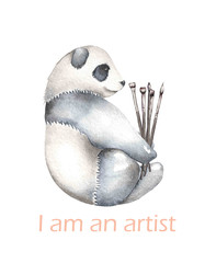 Template of postcard with watercolor illustration panda and paint brushes, hand drawn isolated on a white background