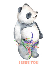 Template of postcard with watercolor illustration panda and bouquet of flowers, hand drawn isolated on a white background