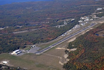 aerial view of the Muskoka Airport  located  south of Muskoka also view of the , Ontario, Canada