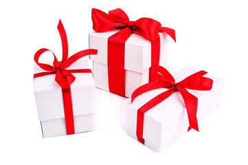 three white gift boxes on white background