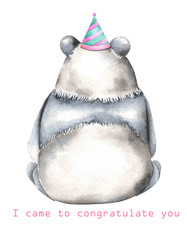 Template of postcard with watercolor illustration panda in festive cap, hand drawn isolated on a white background