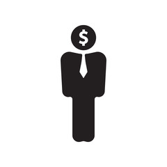 Businessman, man, person with dollar sign.