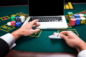 casino, online gambling, technology and people concept