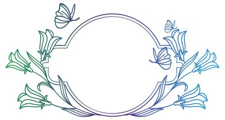 Round elegant flower gradient frame