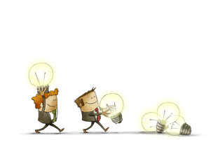 Two men holding lighted bulbs