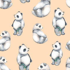 Seamless pattern with watercolor pandas, hand drawn isolated on a pink background