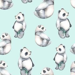 Seamless pattern with watercolor pandas, hand drawn isolated on a blue background