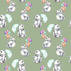 Seamless pattern with watercolor pandas with air balloons and umbrella, hand drawn isolated on a green background