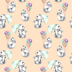 Seamless pattern with watercolor pandas with air balloons and umbrella, hand drawn isolated on a pink background