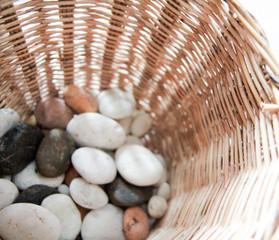 Stones in a wicker Basket