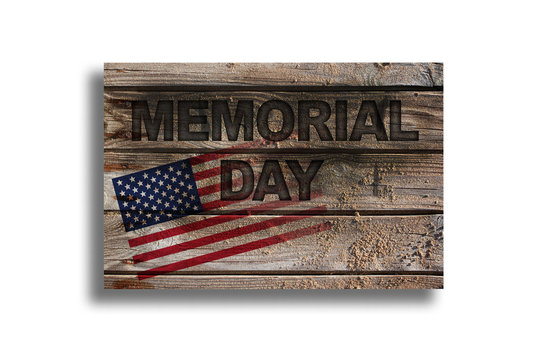Memorial day on wood