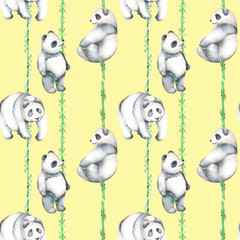 Seamless pattern with watercolor bamboo and pandas, hand drawn isolated on a yellow background