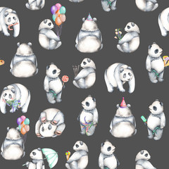 Seamless pattern with watercolor pandas, hand drawn isolated on a dark background