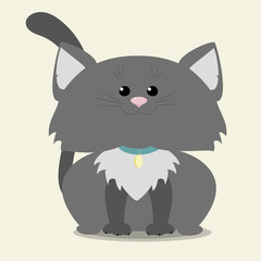 Gray kitten sitting. Vector illustration cartoon