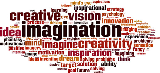 Imagination word cloud concept. Vector illustration