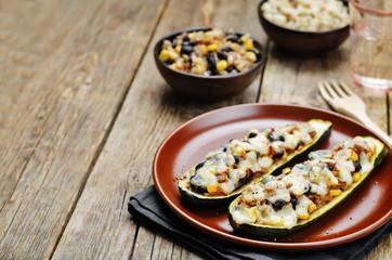 Black beans brown rice corn stuffed zucchini