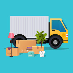 Moving truck and cardboard boxes. Moving House. Transport compan