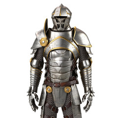 3d illustration of a full suit of armor isolated on white background