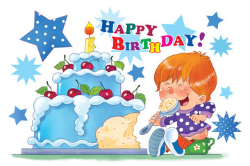 A baby boy, sitting on the pot, eating his birthday cake with one candle.. First birthday. Greeting card. Illustration for children