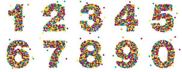 Bunte Konfetti Zahlen von 1 bis 9 und 0, Vektor