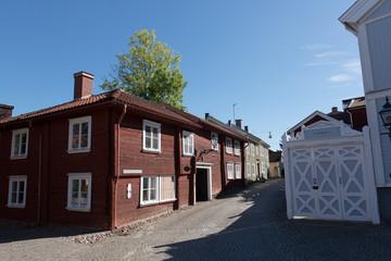 Strassendetails Schilder und Höfe in Eksjö, der Holzstadt,Smaland Schweden