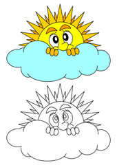 The sun peeks shyly behind a cloud - coloring book for young children - vector svg