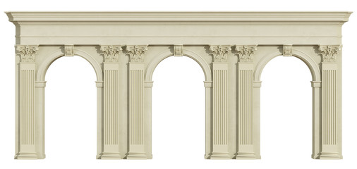 Classic colonnade isolated on white Wall mural