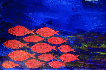 Art abstract paint with red fish on blue canvas background