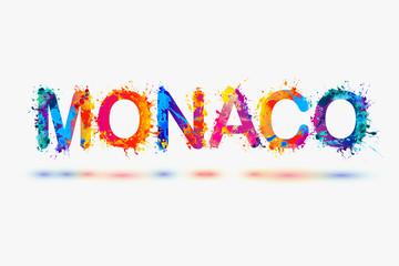 Monaco. Word of splash paint letters