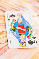 """""""The Queen of spades"""" in Russian dengas in the amount of five th"""