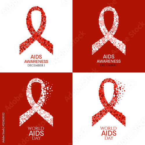 Set Of Aids Awareness Posters World Aids Day Symbol Ribbon Made Of