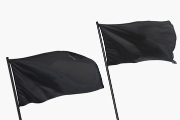 two black flags isolated