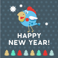 Christmas and New year. Festive design. Funny blue bird.