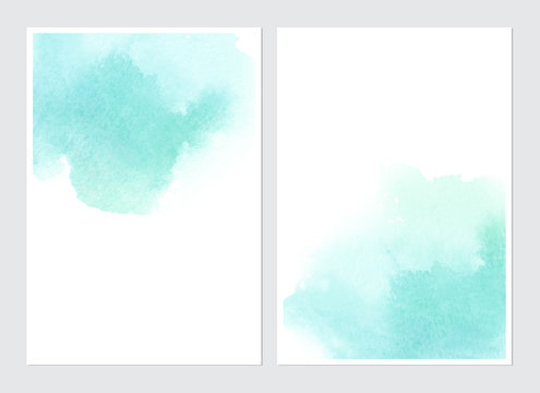 Set of cards with watercolor blots.