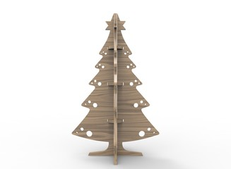 3d illustration of wooden xmas pine tree. isolated on white background