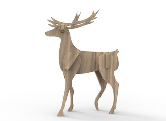 3d illustration of  wooden deer toy. isolated on white background