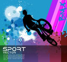 Boy jumping with bmx bike vector