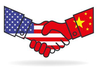 Poignée de mains - Chine USA - Accord - économie