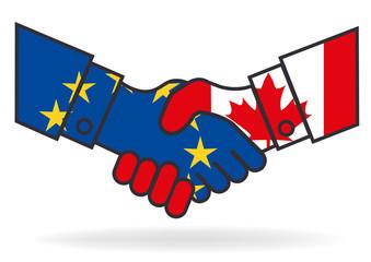 Poignée de mains - Europe Canada - Accord - Libre échange