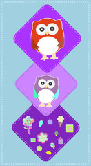 cute owls couple with baby owl, owl family, baby card