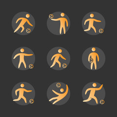 Silhouettes of figures soccer player icons set